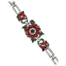 Vintage Trifari Alfred Philippe Enamel Flower Bracelet