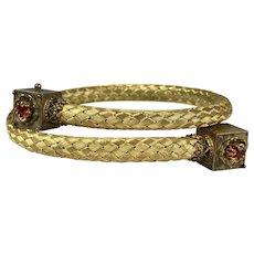 Victorian Garnet Braided GF Stretch Bangle Bracelet