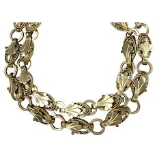 Rare Victorian Double Book Chain Gold Fronts Bracelet