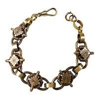 Victorian Chunky 14K Gold Book Chain Bracelet RARE