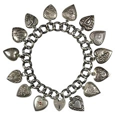 Victorian Sterling Silver 15 Puffy Hearts Charm Bracelet