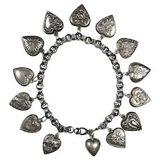 Victorian Sterling Silver 14 Puffy Hearts Charm Bracelet