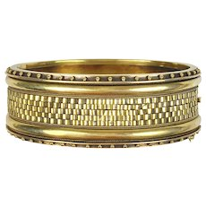 Antique Victorian Wide 14K Gold Bangle  Unusual Woven Design  Hinged  RARE