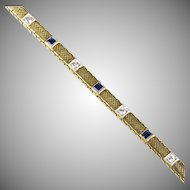 Vintage Art Deco 14K Gold Bracelet Diamonds Sapphires   Lovely Classic Design  Top Quality