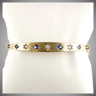 Antique Victorian 14K Gold Bangle with Diamonds Sapphires Starburst Settings Gorgeous  RARE