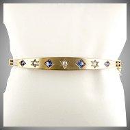 Antique Victorian 14K Gold Bangle with Diamonds Sapphires Starburst Settings Gorgeous  RARE