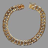Victorian Revival Heavy 14K Rose Gold Link Bracelet