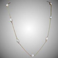 Vintage 14K Gold Pearl Necklace