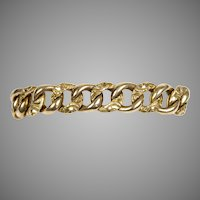 Victorian 14K Gold Thick Heavy Chased Curb Link Bracelet