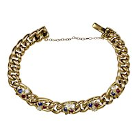 English Victorian 15K Gold Diamond Ruby Sapphire Clover Bracelet