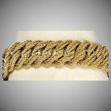 Heavy Wide Retro 18K Matte Gold Link Bracelet