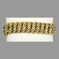 Exceptional 19th C French Wide 18K Gold Bracelet