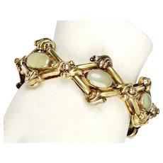 Victorian 14K Gold Cabochon Green Chalcedony Bracelet