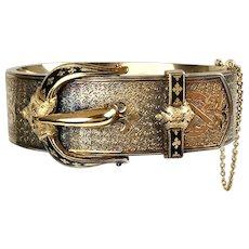Victorian 18K Rose Gold Buckle Bangle -  Possibly Belonged to Elizabeth Barrett Browning