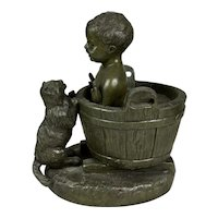 Adorable Antique Signed Sculpture Baby Bath with Cat