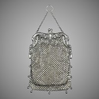 Exceptional Art Nouveau Sterling Silver Mesh Bag