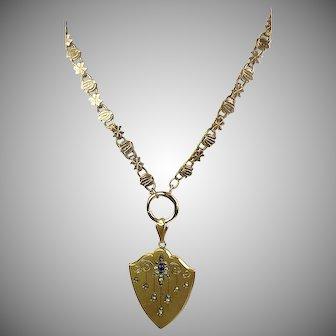 Antique Victorian Gold Front Book Chain  Necklace Pendant  Large Shield Locket  Paste  RARE