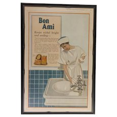 Custom Framed  Vintage Color Ad Bon Ami Cleaning Powder 1918