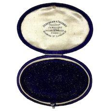 Antique English Velvet Jewelry Display Presentation Box RARE
