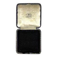 Antique English Leather Jewelry Display Presentation Box RARE