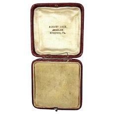 Antique Leather Jewelry Display Presentation Box RARE