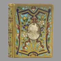 Antique French Ormolu Dore Bronze Enamel Note Pad