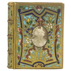 Antique French Ormolu Dore Bronze Enamel Note Pad