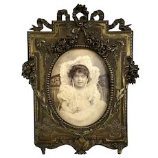 Antique French Bronze Picture Frame Adorable Photo