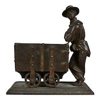Antique 19th C Figural Bronze Coal Miner and Trolley Sculpture