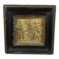 Antique 19th C Figural Gilt Bronze Plaque in Frame