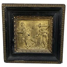 Antique 19th C Figural Gilt Bronze Plaque in Frame