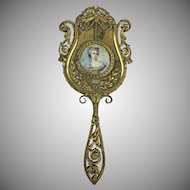 Antique French Ormolu Dore Bronze Hand Mirror   Signed Miniature Portrait