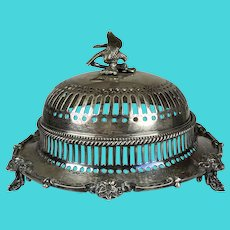 Antique Victorian Silver Eagle Covered Dish