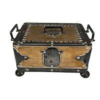 Striking Antique English Wood Silver Serving Box