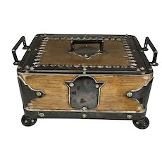 Striking Antique English Wood Silver Serving Box