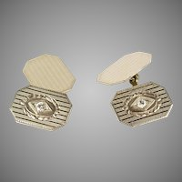 Art Deco 14K White Gold Diamond Double Sided Cufflinks