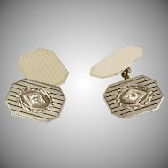 Vintage Art Deco 14K White Gold Double Sided Cufflinks  Diamond Accents  Rectangular  Classic