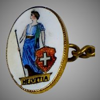 Art Deco Hand Painted Enamel Cufflinks  Swiss Helvetia RARE