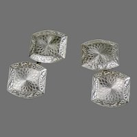 Art Deco 14K White Gold Double Sided Cufflinks