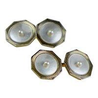 Art Deco 14K Gold Double Sided Octagonal Cufflinks Seed Pearls