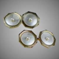 Art Deco 14K Gold Double Sided Octagonal Cufflinks Seed Pearls