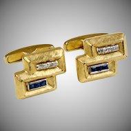 Vintage Retro Heavy 14K Gold Sapphire & Diamond Cufflinks