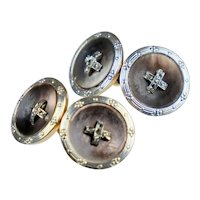 Art Deco Double Sided 14K Platinum Diamonds Button Cufflinks