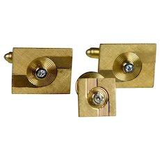 Retro Heavy 14K Gold Diamond Cufflinks & Tie Tack Set