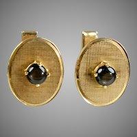 Vintage Retro 14K Black Sapphire Cufflinks by Merrin
