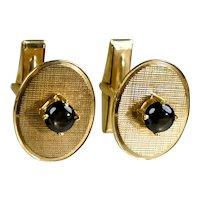 Vintage Retro 14K Gold Black Sapphire Cufflinks