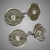 Vintage Art Deco Double Sided Platinum Diamond Cufflinks