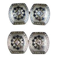Art Deco Double Sided 14K Platinum Diamond & Engraved Cufflinks