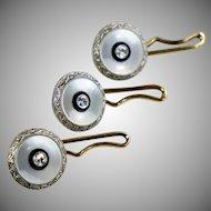 Art Deco Set of 3 Platinum & 14K Gold Tuxedo Button Studs  MOP  Diamonds  Enamel