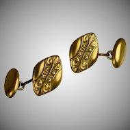 Vintage Art Deco Gold Front Cufflinks Sculpted Football Shape